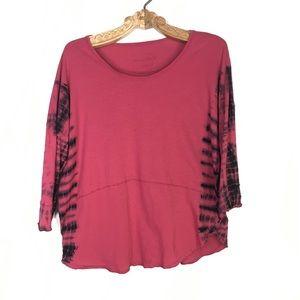 Free People 3-4 Sleeve Pink Black TieDye top XS